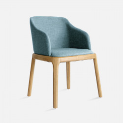 Fin Chair, W56, Light Blue with Natural Ash