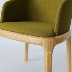 Fin Chair, W56, Olive Drab with Walnut Brown