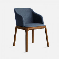 Fin Chair, W56, Steel Blue with Walnut Brown