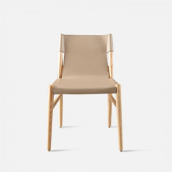 ELLIS Bounded Leather Chair with wood frame, Beige