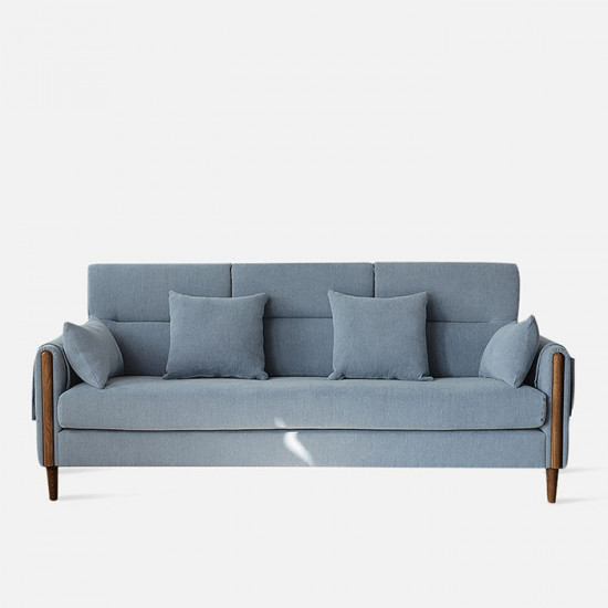 Macaron Sofa II, Walnut with Blue Fabric