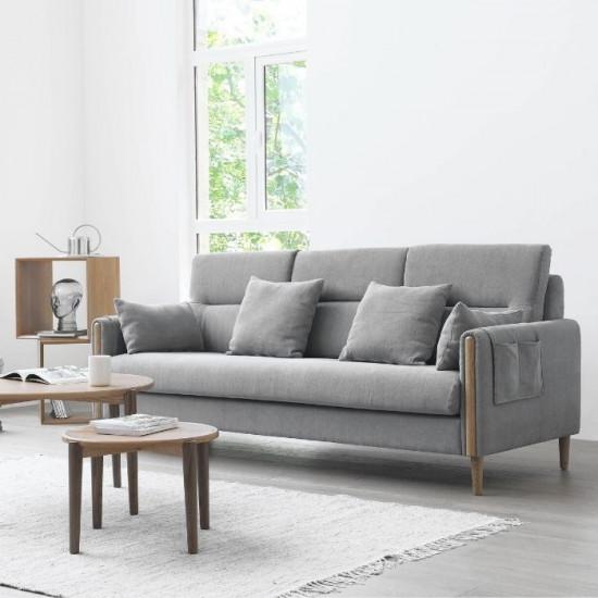 Macaron Sofa II, Oak with Light Grey Fabric
