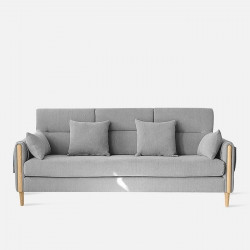 Macaron Sofa II, Oak with Light Grey Fabric