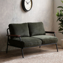 Industrial Metal Sofa 2S, Army Green