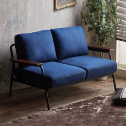 Industrial Metal Sofa 2S, Navy