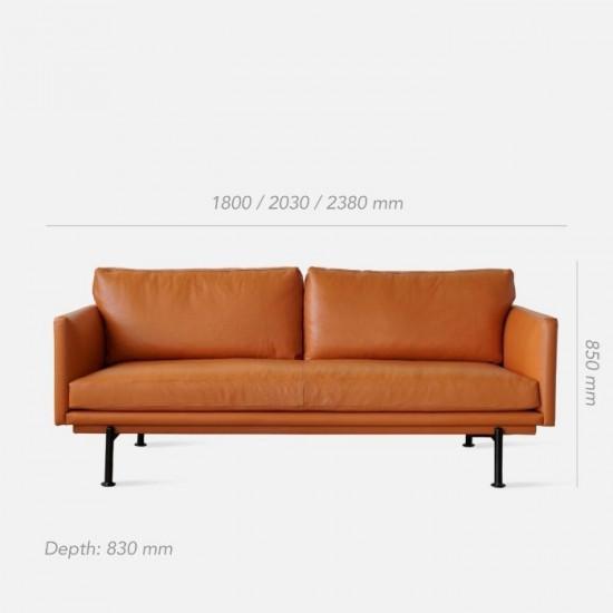 Nadine Leather Sofa, L180-L238, Dark Brown