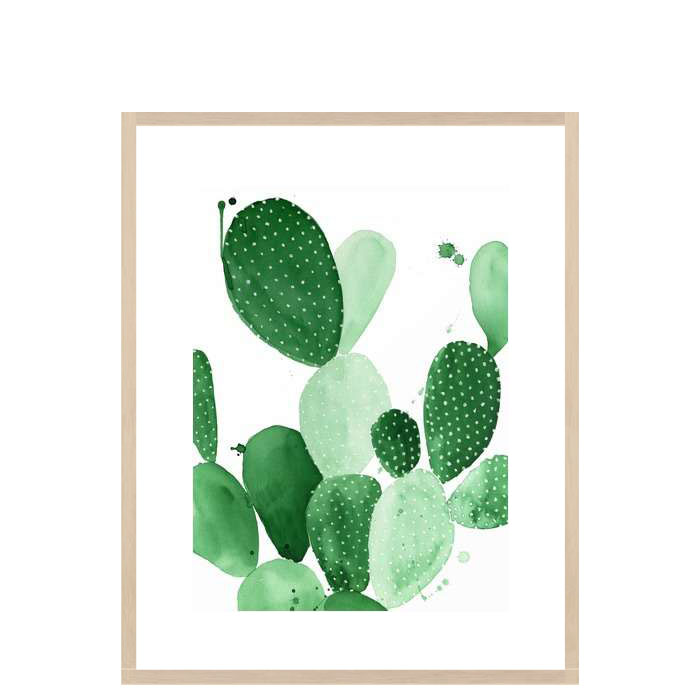 Green Paddle Cactus II, Large, Ash Wood Framed [Display]