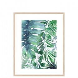 Tropical Leaves, Large, Ash Wood Framed