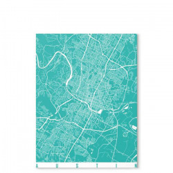 Austin map turquoise - Canvas Medium [In-Stock]
