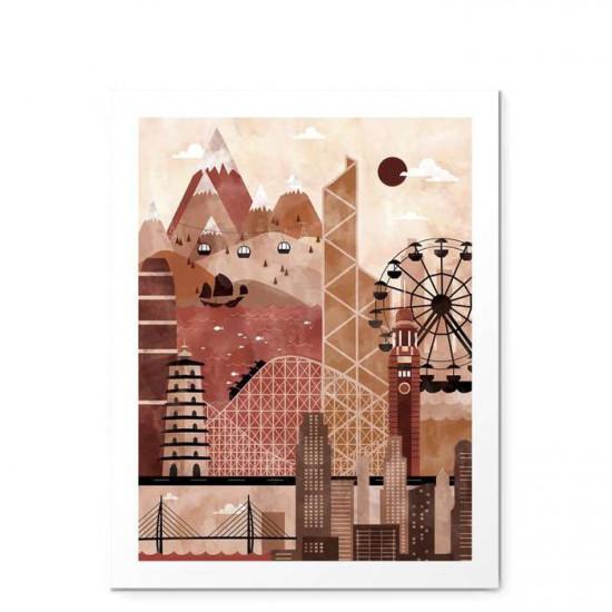 Hong Kong Travel Poster Illustration - small