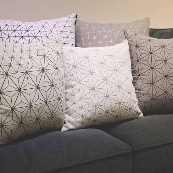 Geo origami pillow-M B&W