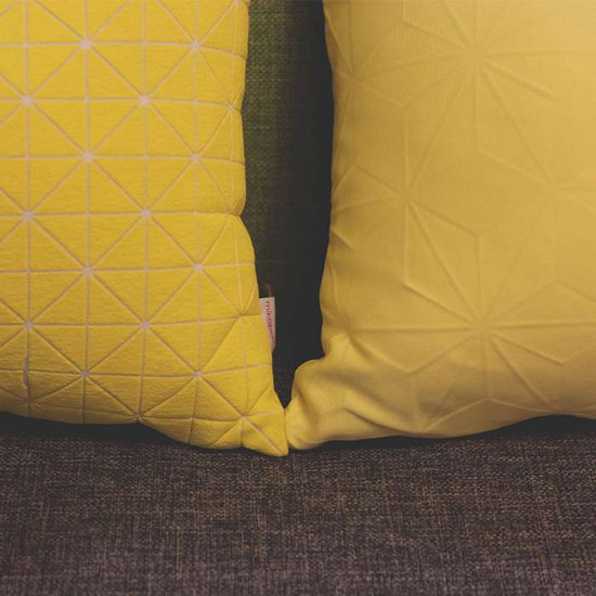 Geo origami pillow-S Yellow