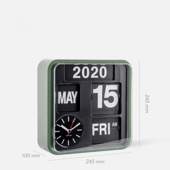 Wall clock Mini Flip green casing, black dial