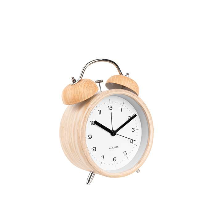 Alarm Clock Classic Bell XL - wood white
