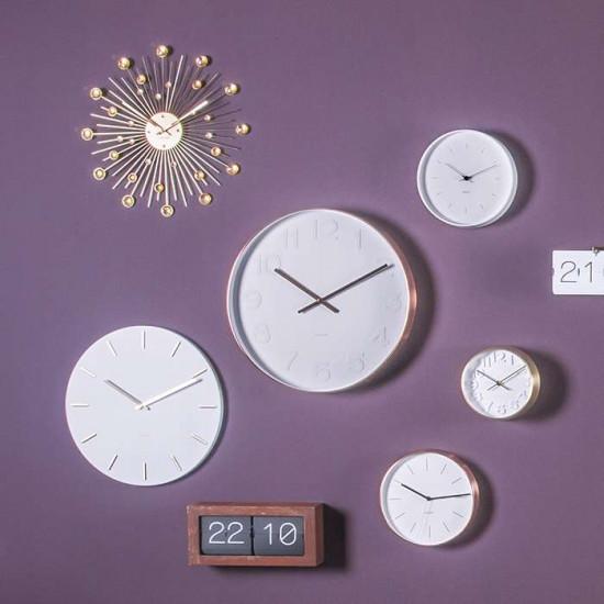 Wall Clock Charm - white steel
