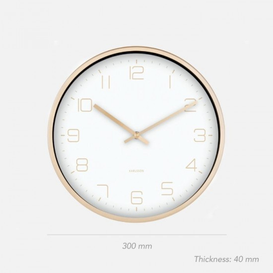 Wall Clock Gold Elegance - White