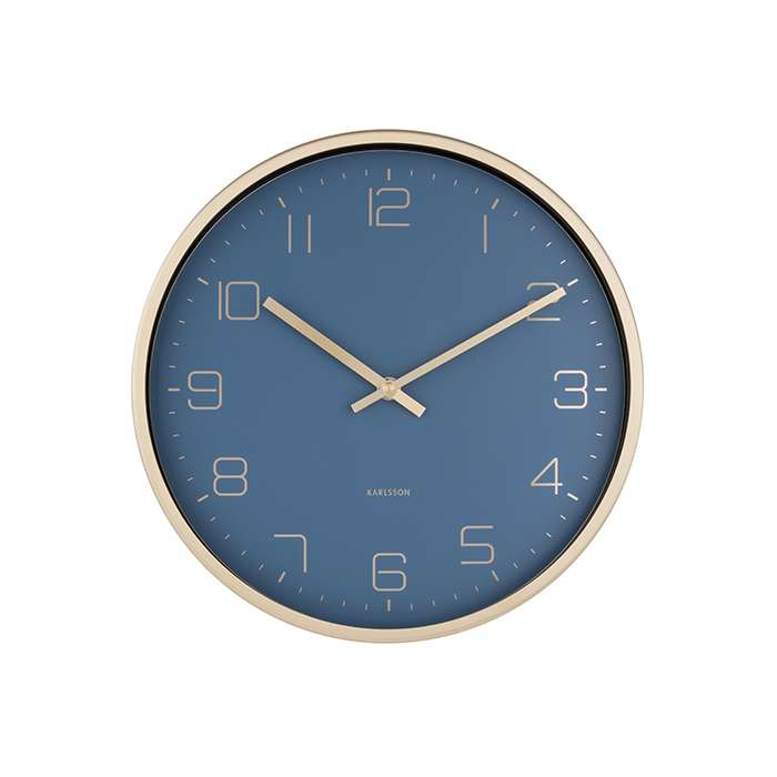 Wall Clock Gold Elegance - Blue
