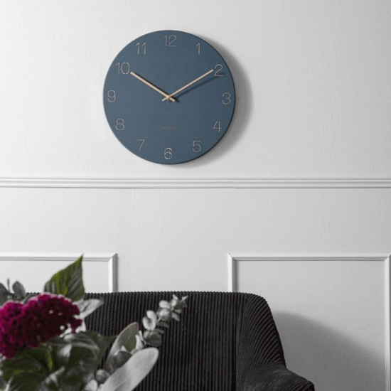 Wall clock Charm engraved numbers - Dark Blue