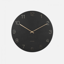 Wall clock Charm engraved numbers - Black