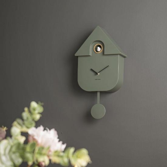 8GR Wall clock Modern Cuckoo jungle green