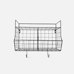 Kitchen Wall Rack Basket - Black