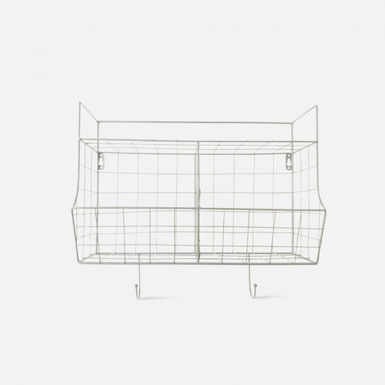 Kitchen Wall Rack Basket - White