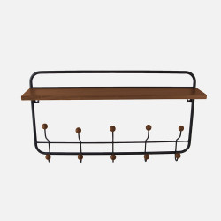 Wooden Coat Rack with Shelf - Black