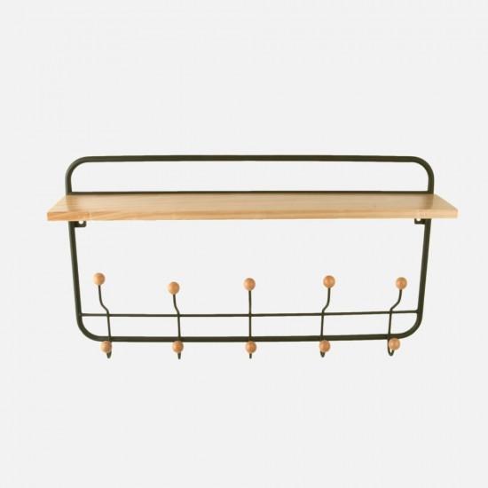 Wooden Coat Rack with Shelf - Black