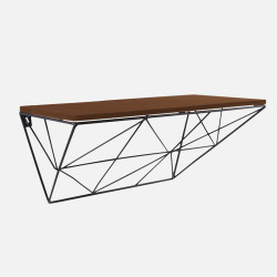 Wooden Shelf with Raster - Black