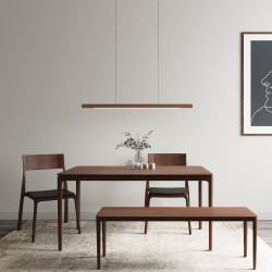 Linear LED Adjustable Natural Walnut Wood Pendant