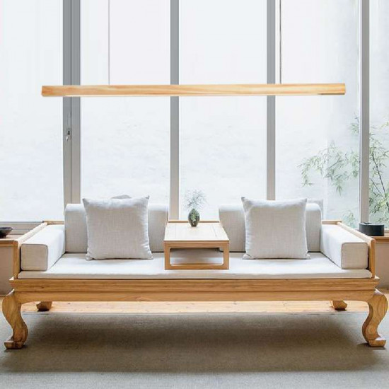 Linear LED Natural Walnut Wood Pendant, Non-Adjustable [In-Stock]