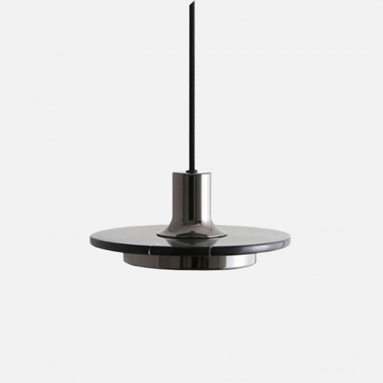 COMLY White Marble Round Pendant with Brass, Black