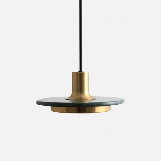 COMLY White Marble Round Pendant with Brass, Green