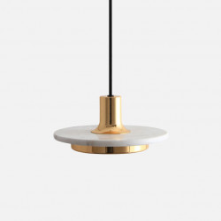 COMLY White Marble Round Pendant with Brass, White