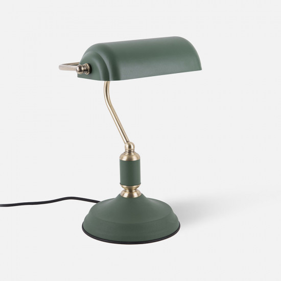 Table lamp Bank Iron Green w. Antique Gold