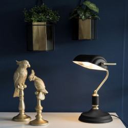 Table lamp Bank Iron Black W. Antique Gold