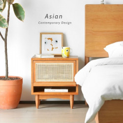 RATTAN Bedside Table, Cherrywood