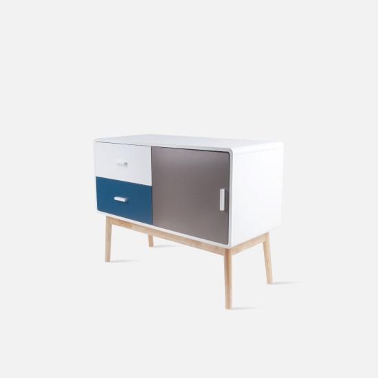 TV cabinet, W100, Neat blue & warm grey