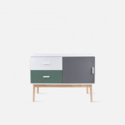 TV cabinet, W100, Neat dark green & mouse grey