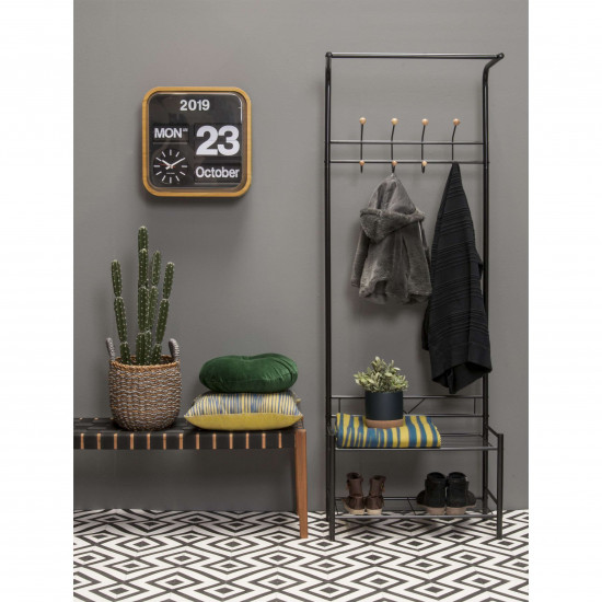 Cloth rack Saturnus black w. wooden balls