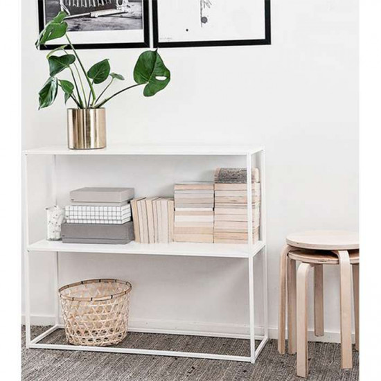 SIMP Two Layers Metal Shelf H80, Matt White