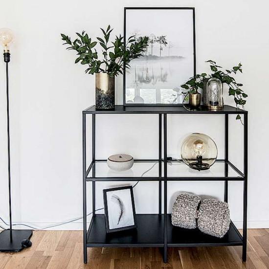 SIMP Four-Grid Metal Shelf W80xW120, Black