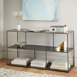SIMP Two Layers with Grids Metal Shelf, Matt Black