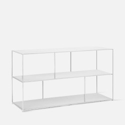 SIMP Two Layers with Grids Metal Shelf, Matt White