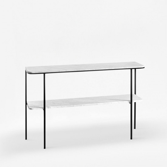Two layer Marble Metal Shelf, Natural White Marble Top