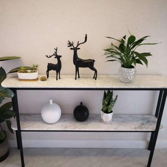 Two layer Marble Metal Shelf, Sintered Stone