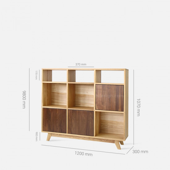 Walnut Grid Cabinet W120