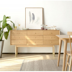 OAKI Chest of Drawers 9, Natural Walnut