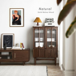 NADINE Vintage bookshelf, H128, Natural Walnut