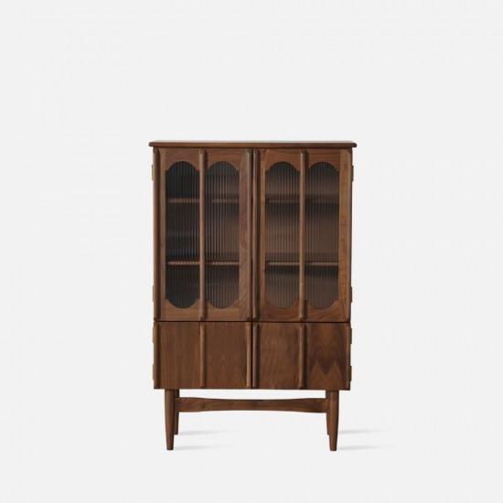 NADINE Vintage bookshelf, H128, Natural Walnut